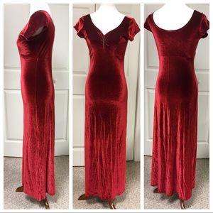 RED CRUSHED VELVET MAXI DRESS